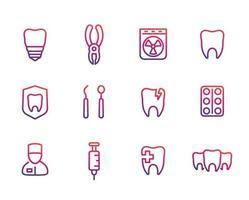 Oral medicine, stomatology, dental implant, teeth line icons set vector