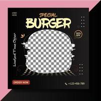 Special burger social media banner template vector