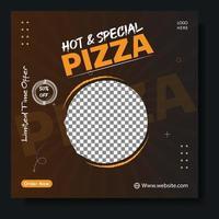 Social media pizza banner template vector