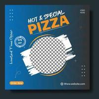 Food menu and delicious pizza social media banner template vector