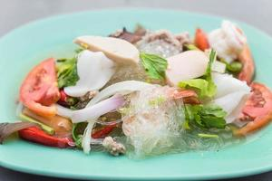 Spicy seafood vermicelli salad photo