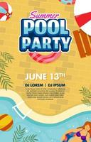 Pool Party Poster Template vector