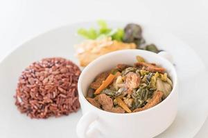 Chinese vegetable stew and tofu with berry rice photo