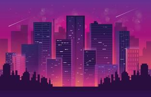 Skyscrapper Cityscape in New Wave Styles vector