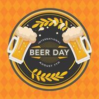 festival del día de la cerveza con un brindis vector