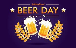 saludos del día internacional de la cerveza vector