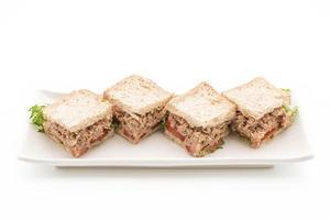Tuna sandwich on white background photo