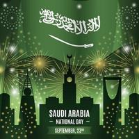 Saudi National Day with Landmark Silhouettes Composition vector