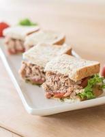 Tuna sandwich on the table photo