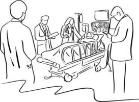 four doctors take care a patient on the bed in hospital vector