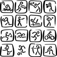 set doodle sport icons vector illustration sketch