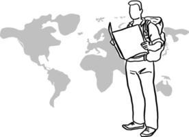 male traveler holding map vector illustration