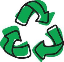 reciclaje verde ilustración vectorial boceto dibujado a mano vector