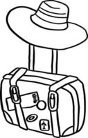 travel bag with hat vector illustration sketch hand drawn