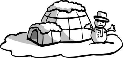 igloo with snowman vector illustration