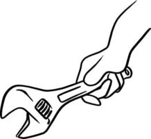 hand holding wrench vector illustration