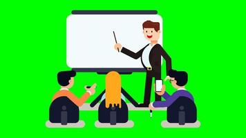 Businessman giving a presentation to colleagues. video