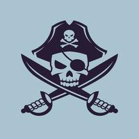 Skull with crossed sabers. Pirate concept art in monochrome style. vector