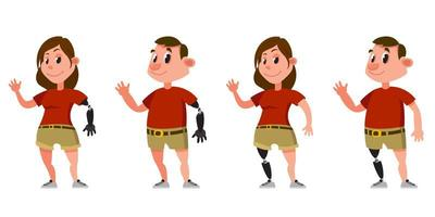 Woman and man with prosthetic arms and legs. vector