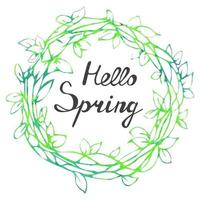 Colorful illustration of spring floral wreath isolated on white vector