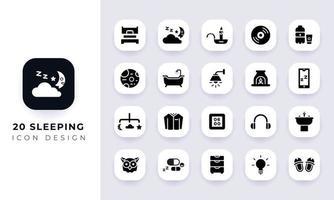 Minimal flat sleeping icon pack. vector