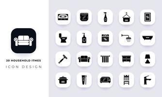 paquete de iconos de itmes domésticos planos mínimos. vector
