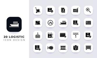 Minimal flat logistic icon pack. vector