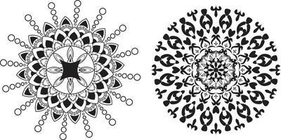 Set of black and white circular mandalas vector
