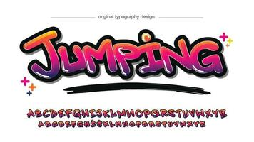 amarillo morado neón negrita pincel graffiti tipografía vector