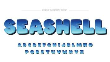 Blue glosssy cartoon rounded typography vector