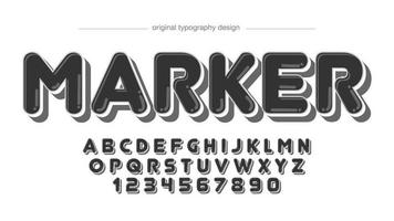 black bold marker rounded cartoon typography vector