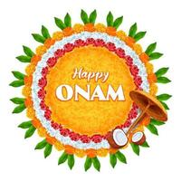 Onam background traditional festival of South India vector