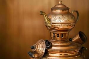 Traditional Turkish Old Style Copper Tea Kettle photo