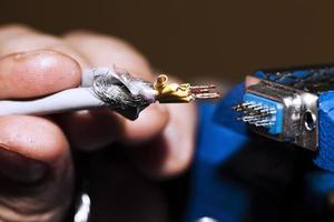 Cables and soldering equipment Industrial Technology Concept photo