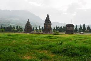 Beautiful view of Arjuna and Semar temples in the Dieng temple photo