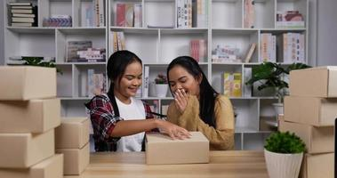 tvillingflickor som kontrollerar en beställning video