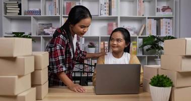 tvillingflickor kontrollerar ordning med bärbar dator video