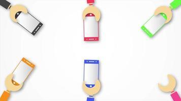 movimiento de corte de papel. mano sostiene el teléfono móvil en gris y blanco. video