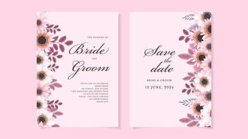 Floral wedding invitation card flower. Save the date, RSVP thank you vector