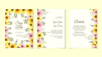 Flower marriage wedding invite card flower Save the date RSVP thanks vector