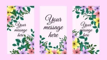 Floral Design backgrounds for social media story, instagram stories vector