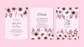 Rustic Wedding Invitation floral invite thank you, rsvp modern card. vector