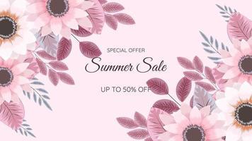 Floral border Summer Sale frame social media, poster, flyer template vector