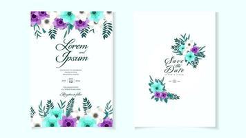 Wedding invitation card frame flowers set Save the date, RSVP thanks vector