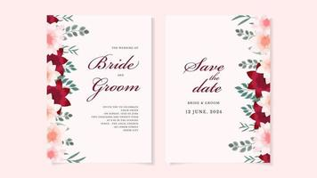 Floral Wedding card template flowers botanic invite Save the date RSVP vector