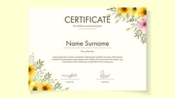 Floral Certificate template for achievements graduation diploma vector