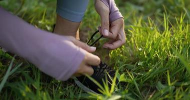Sportswoman Tying Shoelace video