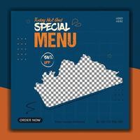 plantilla de publicación de redes sociales de comida fresca de restaurante vector
