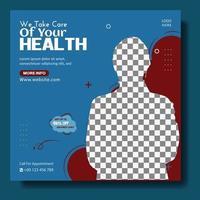 Medical health care social media template vector