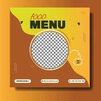 Restaurant food menu social media post template vector